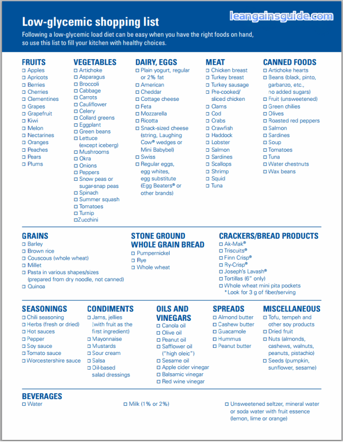 glycemic food index
